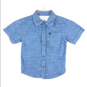 Calvin Klein Boys Chambray Shirt Button Up Blue